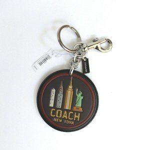 Coach Round Leather Glitter New York Keyring Charm